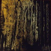 """""""En forêt"""" - Acrylique et feuille d'or 30/30 - 89€"""