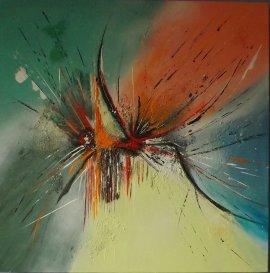 """""""Comme un air de colibri"""" - Acrylique et sable 60/60 en 3 D - 320€"""