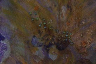 """""""Evaporation dorée""""-Acrylique,encres,résine 30/40-160€"""