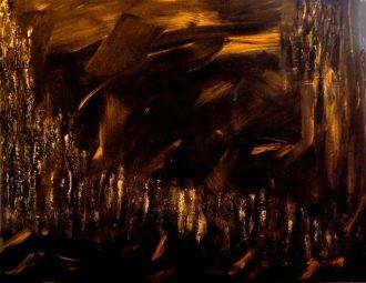 """""""La fuite en avant""""-Acrylique,mortier,cire à dorer 40/50-220€ dorer"""